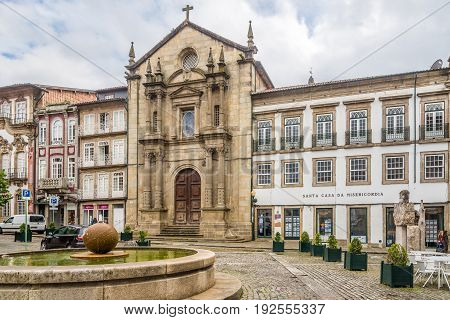 GUIMARAES,PORTUGAL - MAY 14,2017 - View at the chuch of Misericordia in Guimaraes. The city Guimaraes was settled in the 9th century at which time it was called Vimaranes.