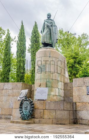 GUIMARAES,PORTUGAL - MAY 14,2017 - View at the statue of Dom Afonso Henriques at the Ducal Palace in Guimaraes. The city was settled in the 9th century at which time it was called Vimaranes.
