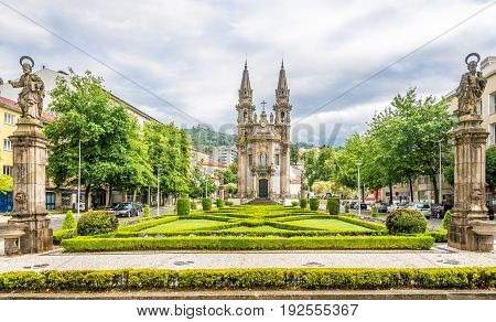 GUIMARAES,PORTUGAL - MAY 14,2017 - Church of Nossa Senhora da Oliveira in Guimaraes. The city was settled in the 9th century at which time it was called Vimaranes.