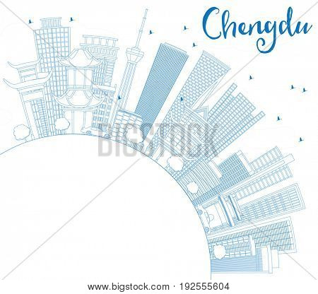 Outline Chengdu Skyline with Blue Buildings and Copy Space. Business Travel and Tourism Concept with Modern Architecture. Image for Presentation Banner Placard and Web Site.