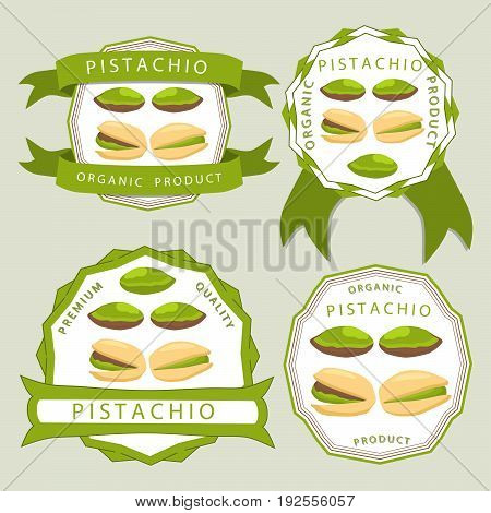 Abstract vector illustration logo whole ripe green pistachio nut, cut sliced, product background.