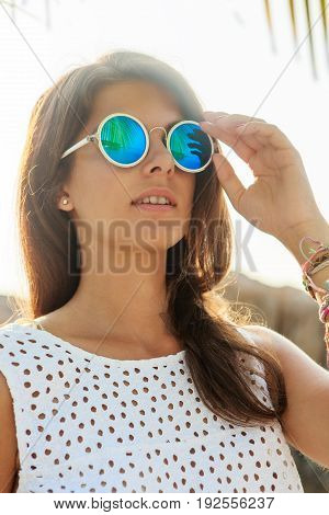 Girl In Sunglasses During Sunset.