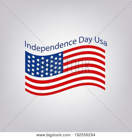 Flag of the United States with the inscription. Independence Day USA. 4th of July. Vector illustration