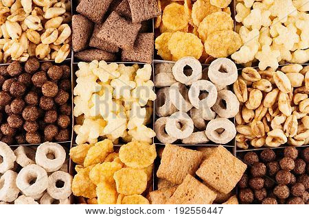 Corn flakes set decorative chess pattern. Cereals background.