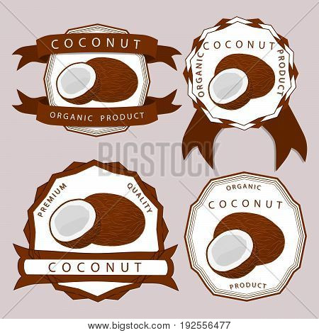 Vector illustration logo for whole ripe fruit white coconut cut half nut in background.
