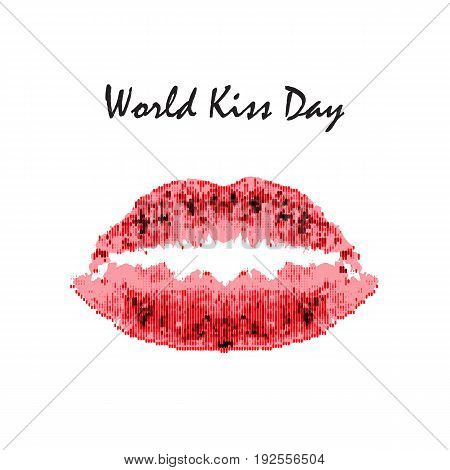 World Kiss Day. 6 July. Watercolor red lips. Imprint of lips and kiss. Print. Vector illustration on isolated background.
