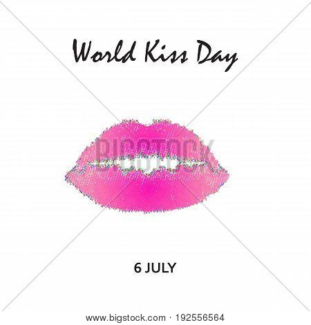 World Kiss Day. 6 July. Watercolor pink lips. Imprint of lips and kiss. Print. Vector illustration on isolated background