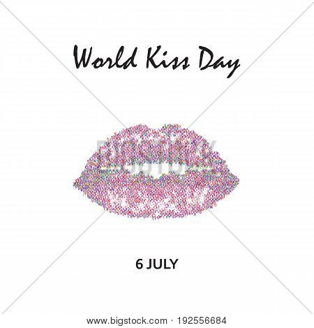 World Kiss Day. 6 July. pink lips. Imprint of lips and kiss. Print. Vector illustration on isolated background