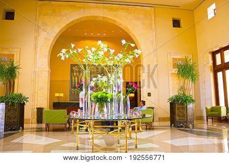Sharm El Sheikh, Egypt - April 11, 2017: The lobbi at Hotel Four Seasons Resort Sharm El Sheikh, Egypt on April 11, 2017