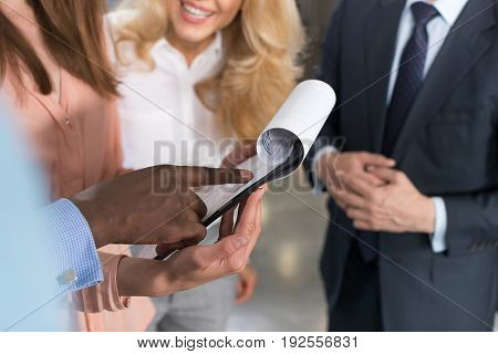 Business People Reading Documents, Partners Discussing Contract Paper File In Modern Office Before Signing, Businesspeople Group Meeting Negotiation