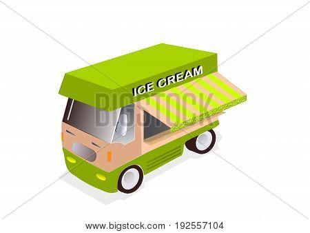 illustration of ice cream truck on white background