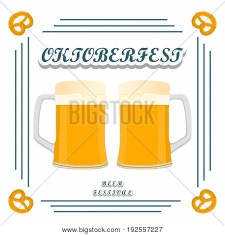 Vector logo for bar banner oktoberfest pub during the festival beer mug glass with foam filled to the brim octoberfest pubs.