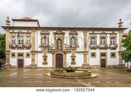 View at the City hall of Guimaraes in Portugal