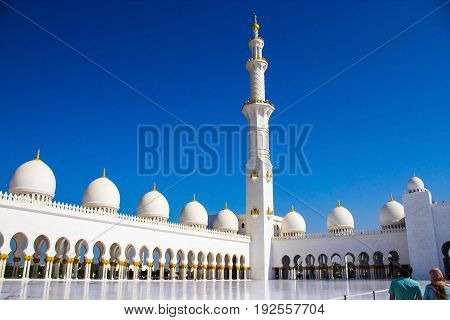 ABU DHABI UNITED ARAB EMIRATES -DECEMBER 2014: The largest and most famous mosque Sheikh Zayed Grand in Abu Dhabi United Arab Emirates