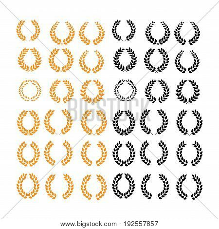 Wreath reward color set. Modern symbol of victory and award achievement champion. Leaf ceremony awarding of winner tournament. Colorful template for badge tag. Design element. Vector illustration