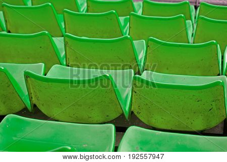 Row of empty stadium seats at a stadium