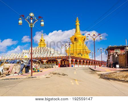 Sichuan China - April 10 2017 : View of beautiful stupas in Yarchen Gar Monastery in Sichuan China