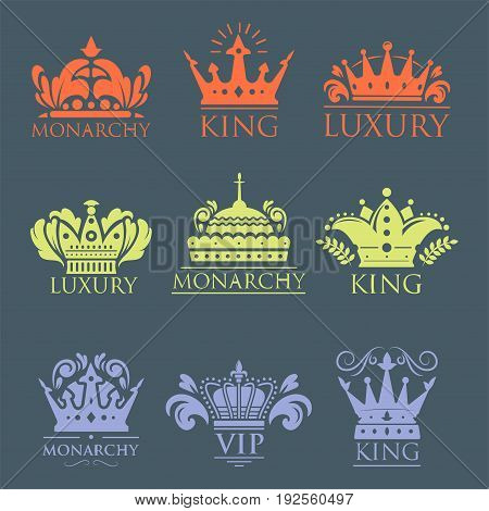 Crown king vintage premium golden yellow badge heraldic ornament icon tiara logo and luxury emblem kingdom princess baroque vector illustration. Insignia medieval antique decoration retro style.