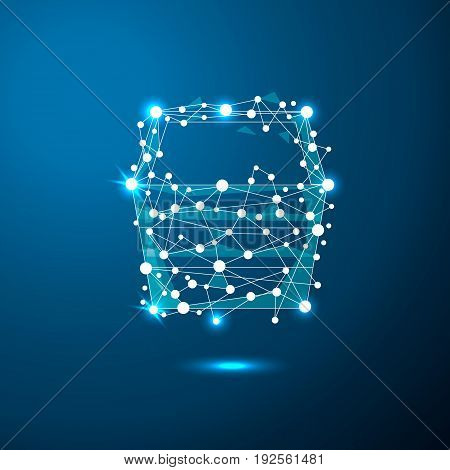 Abstract shopping cart in the form of a starry sky or space, consisting of points, lines, and shapes in the form of planets, stars and the universe. Vector business. Eps10