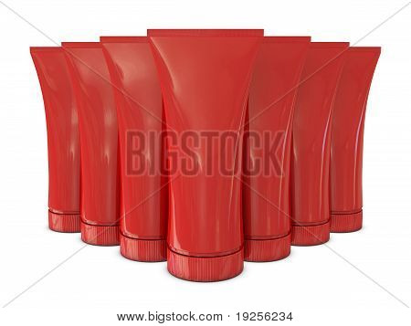 Group of red tubes packs