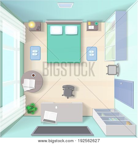 Bedroom interior design with bed, wardrobe, workplace with computer and table top view realistic modern living room illustration