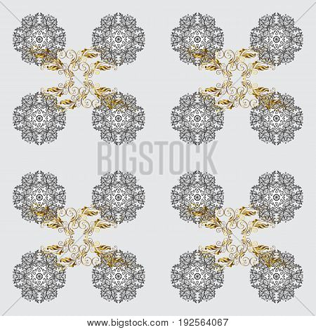 Damask pattern repeating background. Golden yellow floral ornament in baroque style. Antique golden repeatable sketch.Golden element on yellow background.