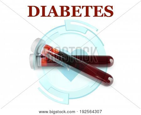 Diabetes concept. Test tubes with blood samples on white background
