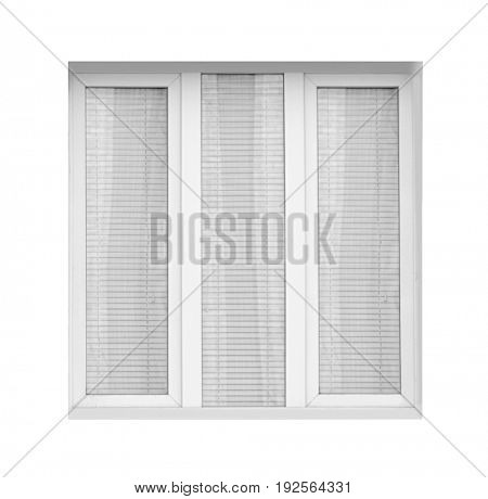 Window with modern blinds on white background