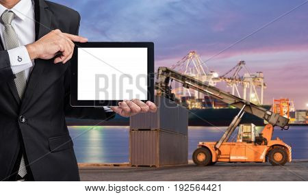 Foreman Or Working Man Hold Tablet Control Loading Containers Box