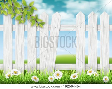 White wooden fence with broken plank on rural landscape background and a branch of a tree on the foreground. Vector detailed illustration.
