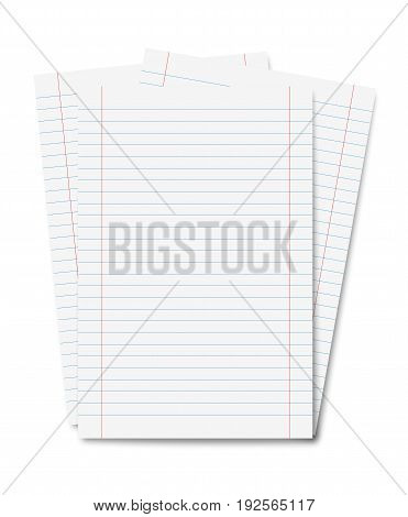 copybook sheets with stripes isolated on white