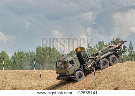 Tyumen, Russia - June 21, 2017: Army Games. Safe Route contest. Motion of the mechanized bridge from TMM set