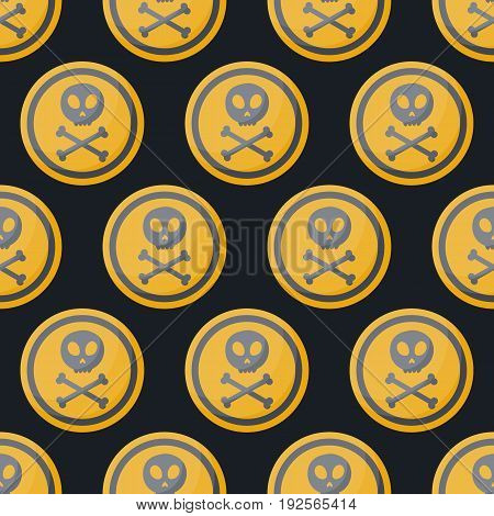 Poison sign vector flat seamless pattern Flat design of danger alert symbol on the dark background vector illustration with swatch