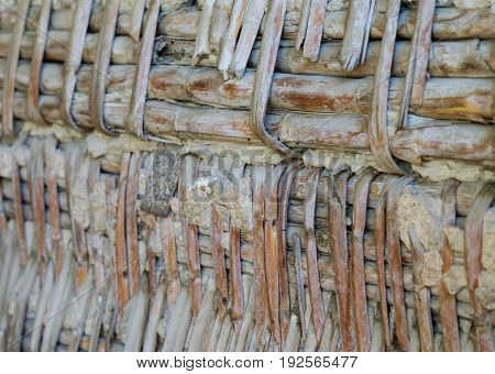 old roof of reeds and plaster Used for ceiling in old constructions between wooden beams