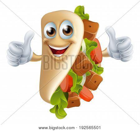 An illustration of a healthy looking cartoon souvlaki kebab character giving a thumbs up