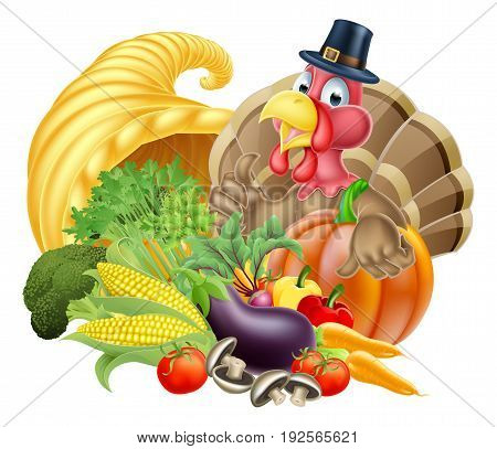 Thanksgiving cartoon turkey bird wearing a pilgrim or puritan thanksgiving hat with cornucopia full of produce