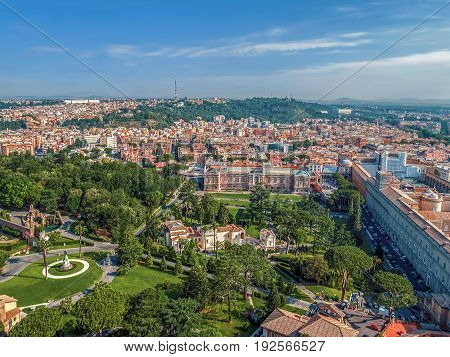 ROME ITALY - JUNE 1 2017: Aerial view from the cupola of Vatican Papal Basilica over one part of the City.