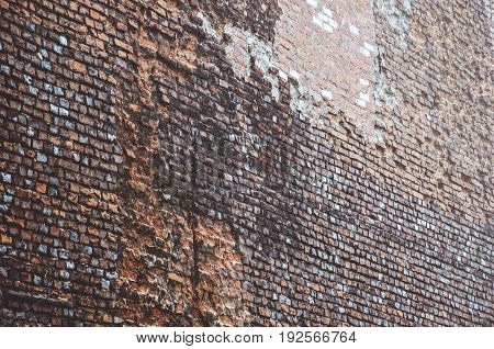 downtown huge old wall made of bricks