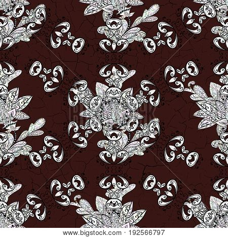 Brown seamless pattern. Tribal ethnic ornate decoration lace repeating texture. Vector doodle sketch pattern graphic illustration. Abstract geometric floral seamless background. Brown background.