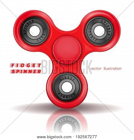 Hand fidget spinner toy for improvement of attention span. Stress-relieving toy. A typical three-bladed fidget spinner made of red plastic. Realistic vector illustration isolated on white background