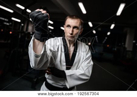Martial arts fighters in gym mama power man