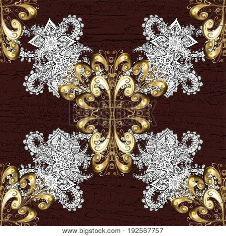 Vector golden pattern on brown background with golden elements. Symbol of winter Merry Christmas holiday Happy New Year 2018. Abstract sketch wrapping decoration. Golden snowflake simple pattern