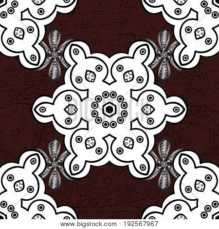Seamless classic white pattern. Vector traditional orient ornament. White pattern on brown background with white elements.