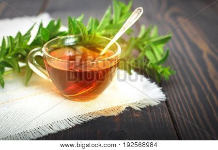 Cup of mint tea and a bunch of mint on the table. Beautiful still life with herbal tea.