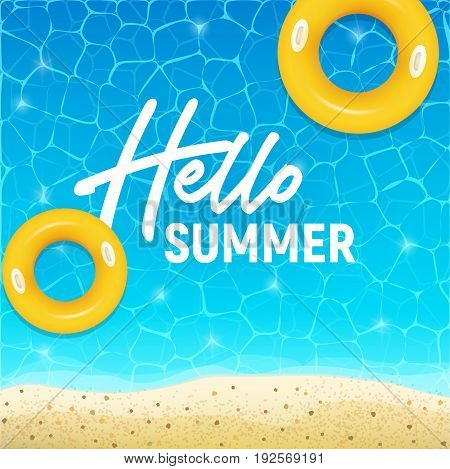 Hello summer web banner background. Sea or pool with sand. Hello Summer Holiday party beach template backdrop. Vector illustration.
