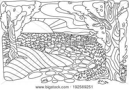 Landscape antistress. Tree path sun and clouds. Vector image in the style of zentangle. EPS 10.