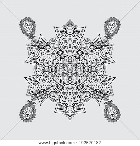 Vector dim pattern. Dim pattern on gray background with with white doodles. Dim textured curls. Oriental style arabesques.
