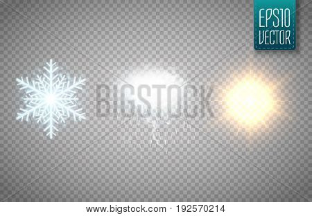 Set of snowflake, cloud with storm and sun isolated on transparent background. Vector illustration