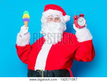 Santa Claus  With Ice-cream And Alarm Clock