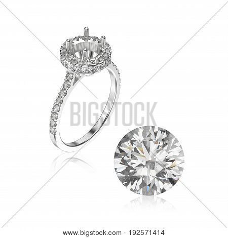 3D illustration white gold or silver ring without gemstone and round diamond with reflection on a white background